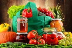 Composition with shopping bag and organic food Stock Photo