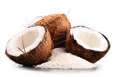 Composition with shredded coconut and shells isolated on white Royalty Free Stock Image