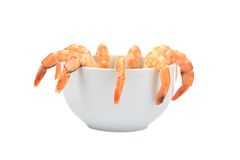 Composition of shrimps in a bowl. Royalty Free Stock Photography