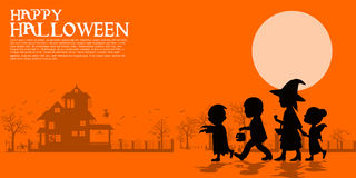 Composition of silhouette Halloween children. Composition of silhouette children in the halloween night Stock Images