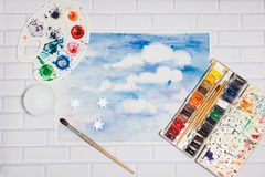 Composition With Sketch of Blue Sky And Paints Royalty Free Stock Photography