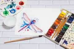 Composition With Sketch of Dragonfly And Paints Stock Photography