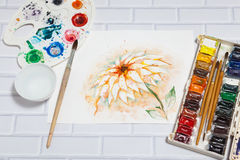 Composition With Sketch of Lily Flower And Paints Stock Photos