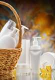 Composition of skincare items Stock Images