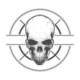 Composition with skull. Vector line art. Abstract graphic composition with creepy skull. Vector illustration Royalty Free Stock Images