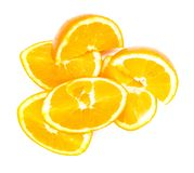 Composition of sliced ​​and whole oranges. On white background stock photo