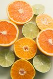 Composition with slices of citrus on color background.  stock photo