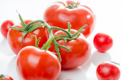 Composition of small cherry and large tomato. Royalty Free Stock Photo