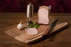 Composition with smoked ham Stock Images