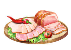 Composition with smoked meat. Watercolor illustration Stock Photo