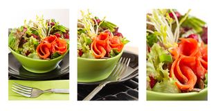Composition smoked salmon salad Stock Photos
