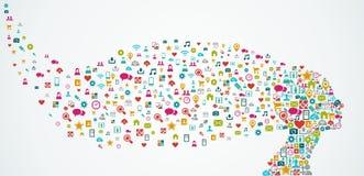 Composition sociale en icônes de media de forme de tête humaine. E Photo libre de droits