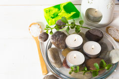 Composition with some ingredients for spa relaxation Royalty Free Stock Photo