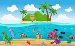 Composition sous-marine colorée en île du monde Images libres de droits