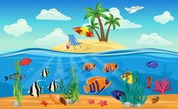 Composition sous-marine colorée en monde illustration libre de droits