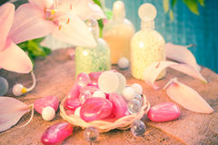 Composition spa bathing salts natural flavors Royalty Free Stock Images