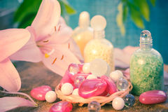Composition spa bathing salts natural flavors Stock Images