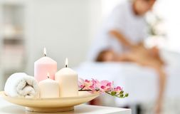 Composition of spa candles and   towels Royalty Free Stock Photography
