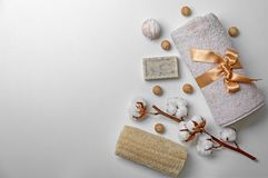 Composition with spa cosmetics, accessories. And cotton flowers on white background Stock Photos