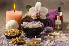Composition of spa products on the light wooden table Royalty Free Stock Photography