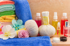 Composition with spa products: towels, pouches, flowers orchid, Stock Photography