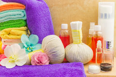 Composition with spa products: towels, pouches, flowers orchid, Stock Photo
