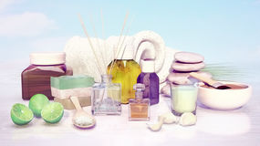 Composition of spa treatment, lime, handmade soap, aromatic oil, Stock Image