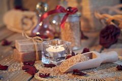 Composition of spa treatment. Natural handmade soap and sea salt Stock Images