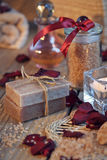 Composition of spa treatment. Natural handmade soap and sea salt Royalty Free Stock Photo
