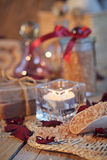 Composition of spa treatment. Natural handmade soap and sea salt Royalty Free Stock Photography
