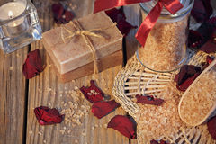 Composition of spa treatment. Natural handmade soap and sea salt Royalty Free Stock Images