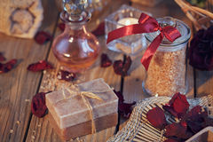Composition of spa treatment. Natural handmade soap and sea salt Stock Image