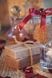Composition of spa treatment. Natural handmade soap and sea salt Stock Photography