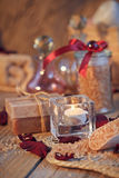 Composition of spa treatment. Natural handmade soap and sea salt Royalty Free Stock Image