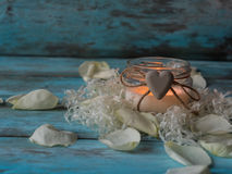 Composition of spa treatment rose, candle. Copy space Stock Photo