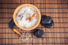 Composition of spa treatment on wooden background Royalty Free Stock Photography