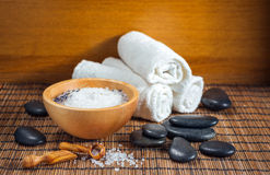 Composition of spa treatment on wooden background Stock Images