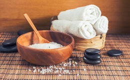 Composition of spa treatment on wooden background Royalty Free Stock Image