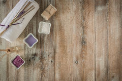 Composition of spa treatment on the wooden table Royalty Free Stock Image