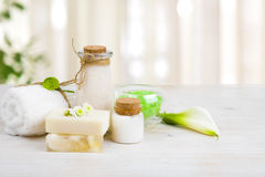 Composition of spa wellness products on light wooden background Stock Image