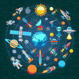 Composition Of Space Icons Royalty Free Stock Photos