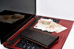 Composition of spending money in internet. Royalty Free Stock Images