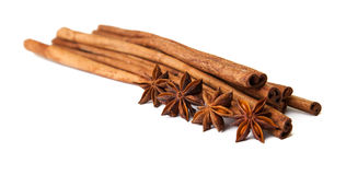 Composition of spices with cinnamon Royalty Free Stock Photo