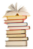 Composition with stack of books  on white Royalty Free Stock Photo