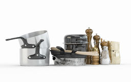 Composition of Stainless steel pots and pans Royalty Free Stock Photos