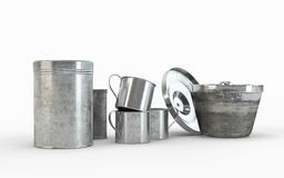 Composition of Stainless steel pots and pans Stock Photo