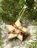 Composition with star and branch of christmas tree Royalty Free Stock Photography