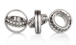 Composition of steel ball roller bearings in closeup isolated on white Royalty Free Stock Image