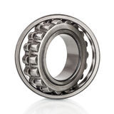 Composition of steel ball roller bearings in closeup isolated on white Stock Image