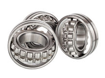 Composition of steel ball roller bearings in closeup isolated on white Stock Photography